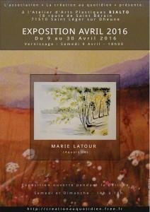 Affiche pour l'exposition d'Avril 2016 de Marie Latour