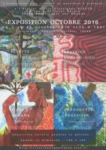 Affiche Exposition Octobre 2016 à l'Atelier Rialto